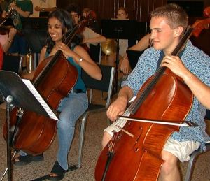 Cellos and Viola Practice at Eastern U.S. Music Camp